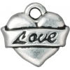 Tattoo Charm Love Heart Antique Silver